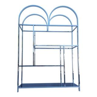 Milo Baughman Style Chrome And Glass Shelf / Etagere .