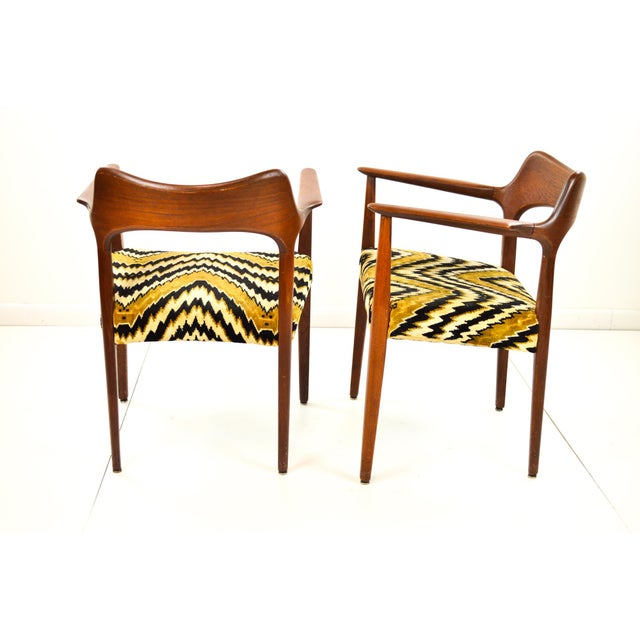 Mid-Century Modern Danish Teak Arm Chairs - A Pair - Image 7 of 10