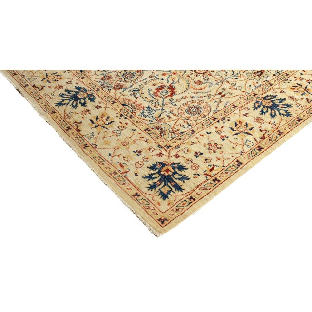 Contemporary Kafkaz Peshawar Abel Tan/Blue Hand-Knotted Rug - 6'6 X 9'7 For Sale - Image 3 of 8