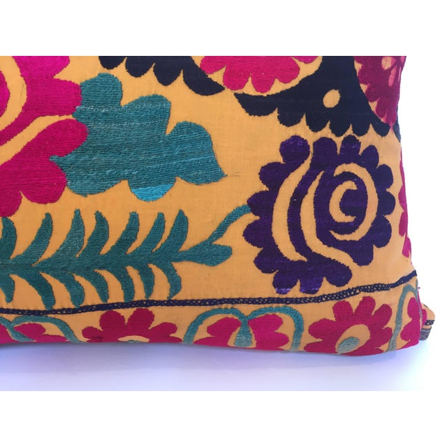 Large Vintage Colorful Suzani Embroidery Throw Pillow For Sale - Image 9 of 13
