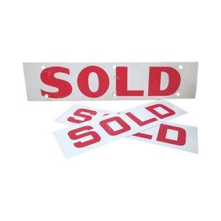 "Vintage Industrial ""Sold"" Signs - Set of 3"