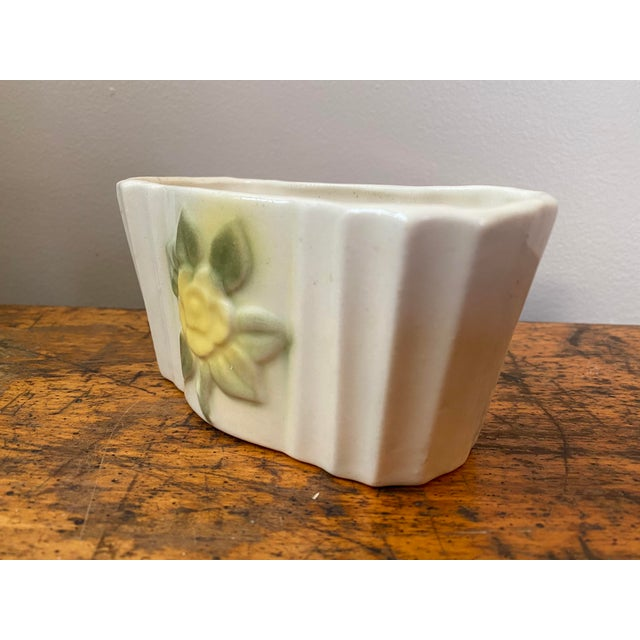 Vintage Ceramic Planter With Yellow Rose For Sale - Image 4 of 8