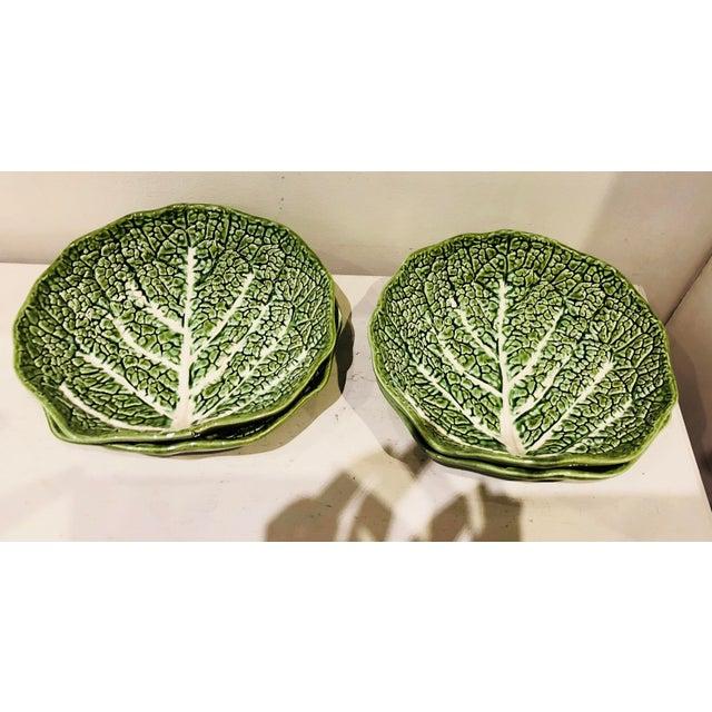 Mediterranean Majolica Lettuce Leaf Salad Plates, S/4 For Sale - Image 3 of 5