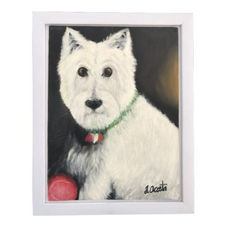 Vintage Oil on Canvas Painting West Highland White Terrier Westie Dog Portrait Original Signed by Artist For Sale
