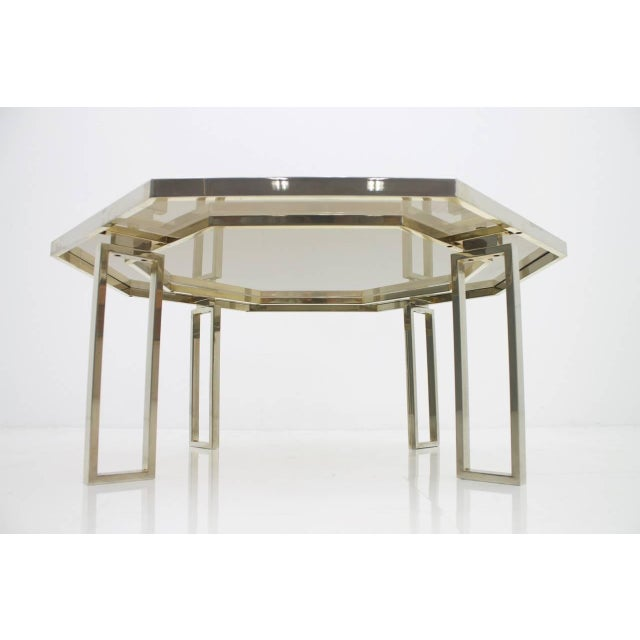 Octagonal Coffee Table With Metal Base and Glass Top, 1960s For Sale - Image 4 of 8