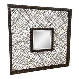 Uttermost Wood Twine Wall Mirror For Sale