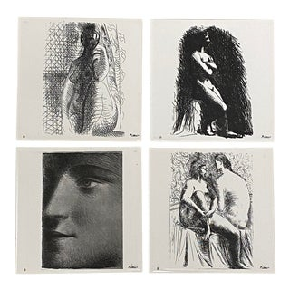 Set of Four Vintage Picasso Art Tiles C.1976 For Sale