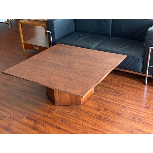 Mid-Century Danish Modern Walnut Square Coffee Table Octagonal Base For Sale - Image 10 of 11