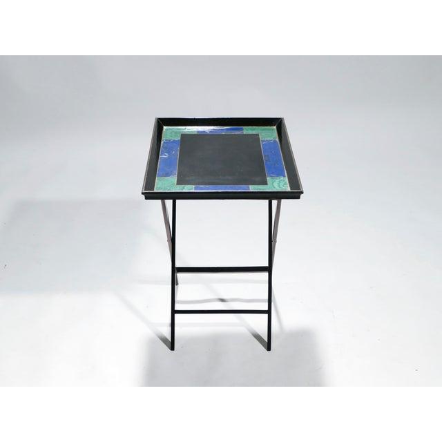64c9759cce Christian Dior Faux Malachite Folding Tray Table, 1970s
