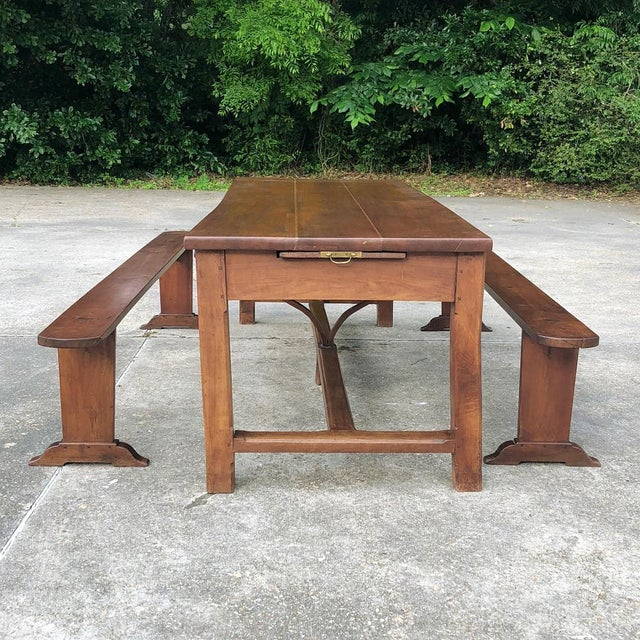 Mid 19th Century 9th Century French Cherrywood Farm Table With Pair Benches For Sale - Image 5 of 13