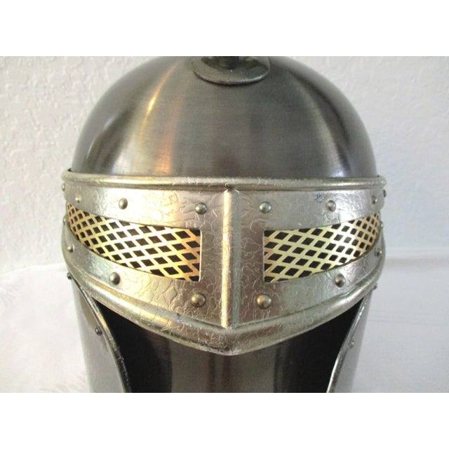 Metal Seymour Medieval Knight Helmet Ice Bucket For Sale - Image 7 of 9