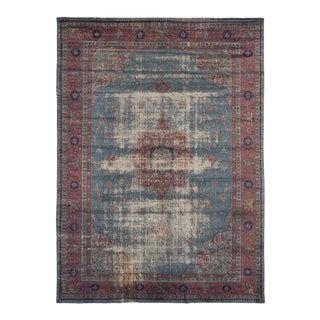 1950's Kashan Distressed Handmade Wool Rug-8′3″ × 11′8″ For Sale