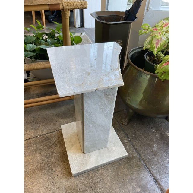 White Neoclassical Circular Marble Side Table For Sale - Image 8 of 10