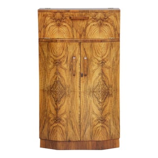 English Art Deco Drinks Cupboard or Bar Cabinet of Burled Walnut For Sale