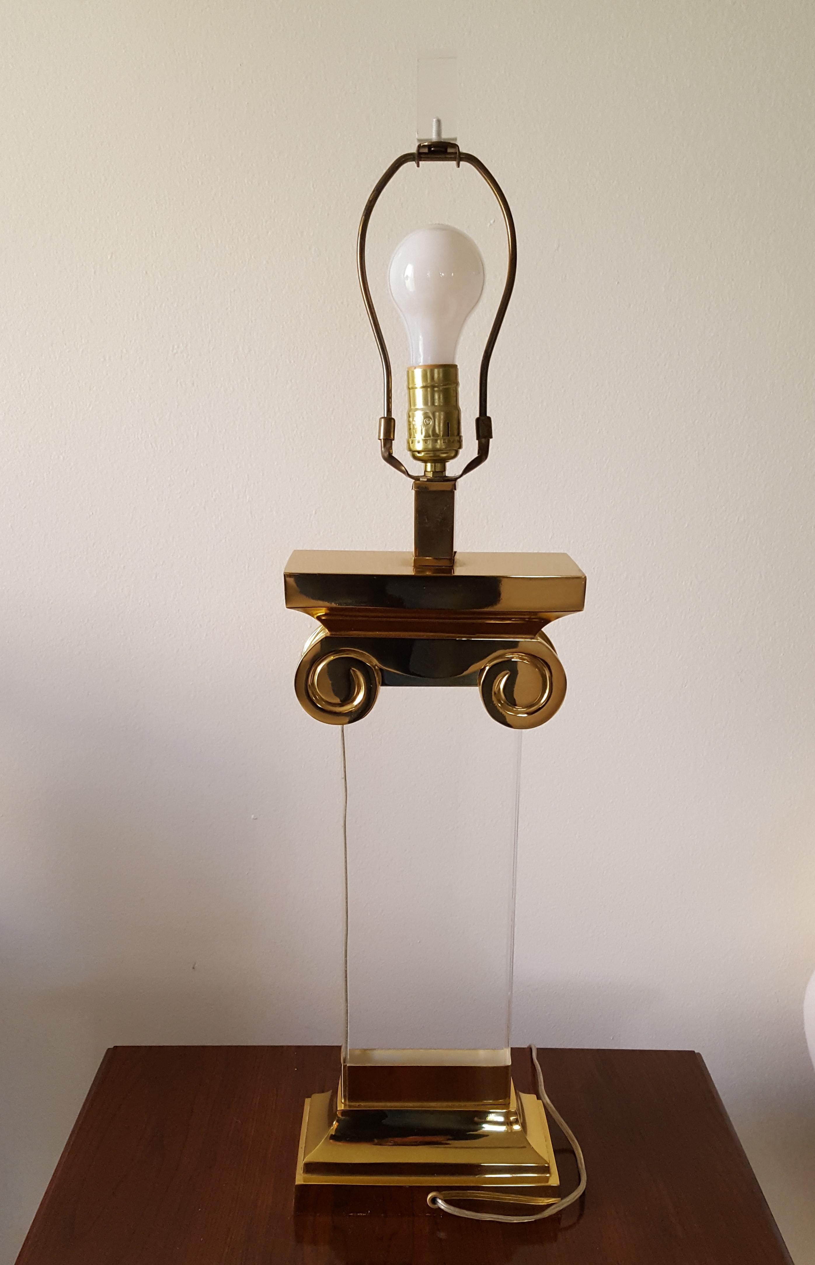 Mid Century Modern Karl Springer Lucite Amp Brass Lamp