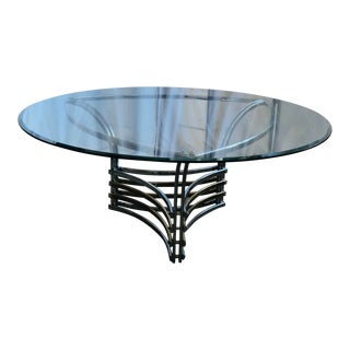 1980s Round Glass & Chrome/Brass Triangular Shape Dining Table For Sale