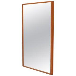 Midcentury Danish Modern Solid Teak Rectangular Frame Wall Mirror For Sale