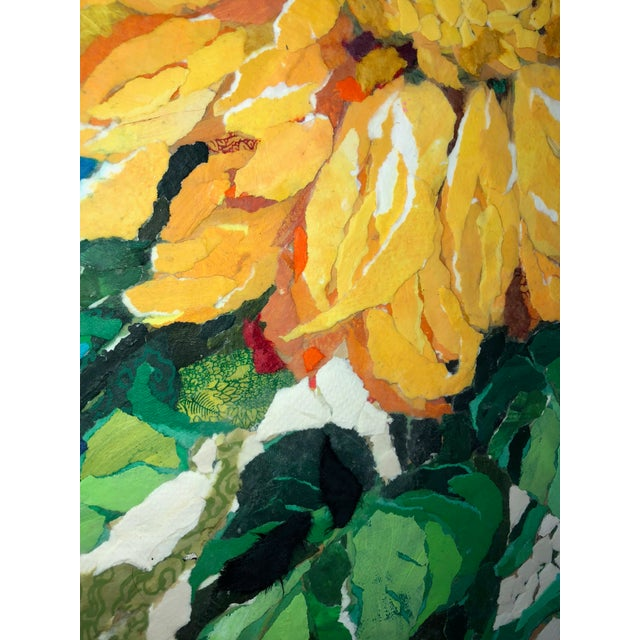 "2010s ""Sunflower I"" Acrylic Collage Painting For Sale - Image 5 of 7"