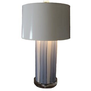 Cilindro Blue and White Stripe Glass Lamp