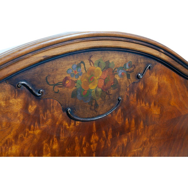 Renaissance Revival 1940s Renaissance Hand Painted Walnut Headboard For Sale - Image 3 of 8