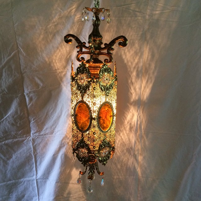 Vintage 60's Brass Filagree With Opalescent Crystals Swag Pendant Light For Sale - Image 11 of 11