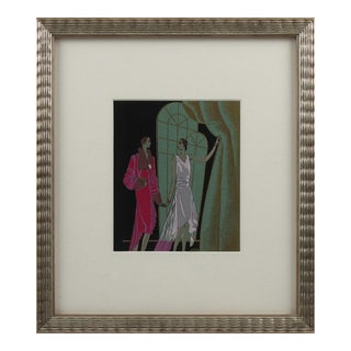 Original French Art Deco Gouache Illustration Drawing by J. Hilly For Sale
