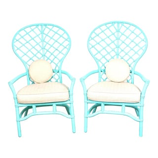 1970s TurquoiseBack Hollywood Regency Boho Chic Rattan Chairs - a Pair For Sale