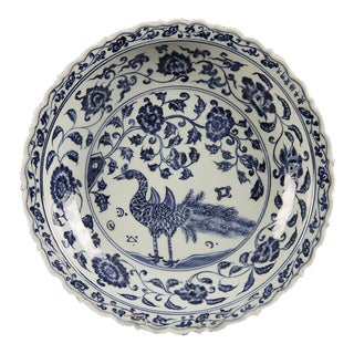 Large Chinese Blue and White Glazed Bowl with a Peacock For Sale