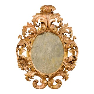 Italian 18th Century Richly Carved Acanthus Leaf Giltwood Mirror For Sale