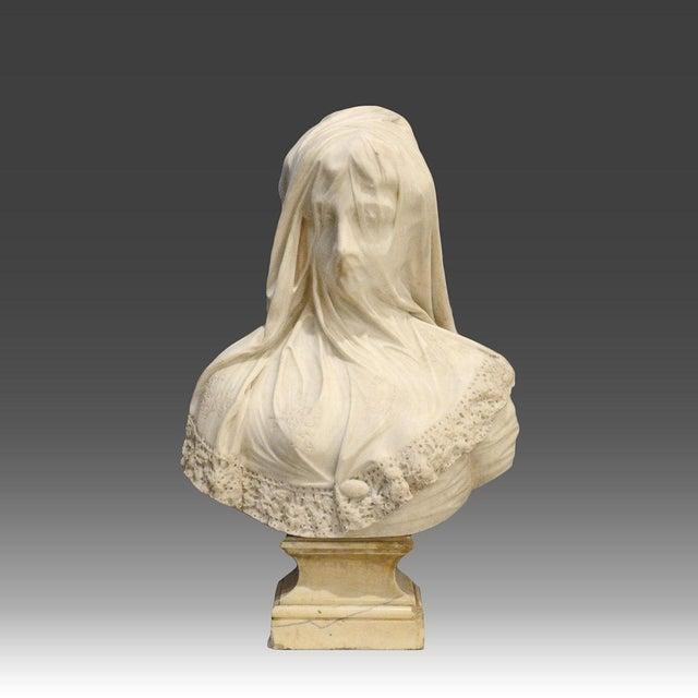 Marble Bust of a Veiled Maiden Signed by Raffaello Monti For Sale - Image 4 of 4