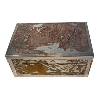 Antique French Silver on Copper Etched Dresser Jewelry or Trinket Box For Sale