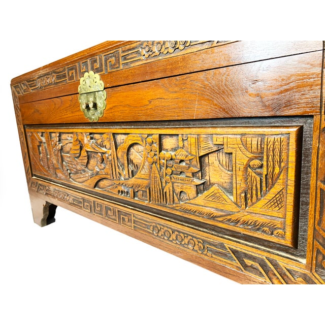 Late 19th Century Late 19th Century Antique Chinese Hand Carved Camphor Chest / Trunk For Sale - Image 5 of 10
