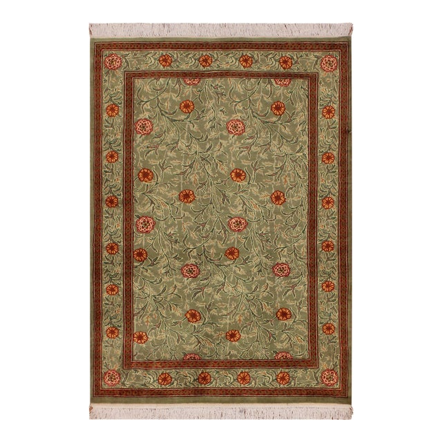 "William Morris Pak-Persian Jasmine Green Red Wool Rug - 4'1"" x 5'11"" For Sale"