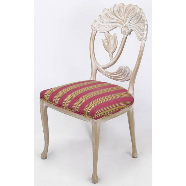 Four Lime Wash Floral Carved Dining Chairs In the Manner Of Phyllis Morris - Image 4 of 9