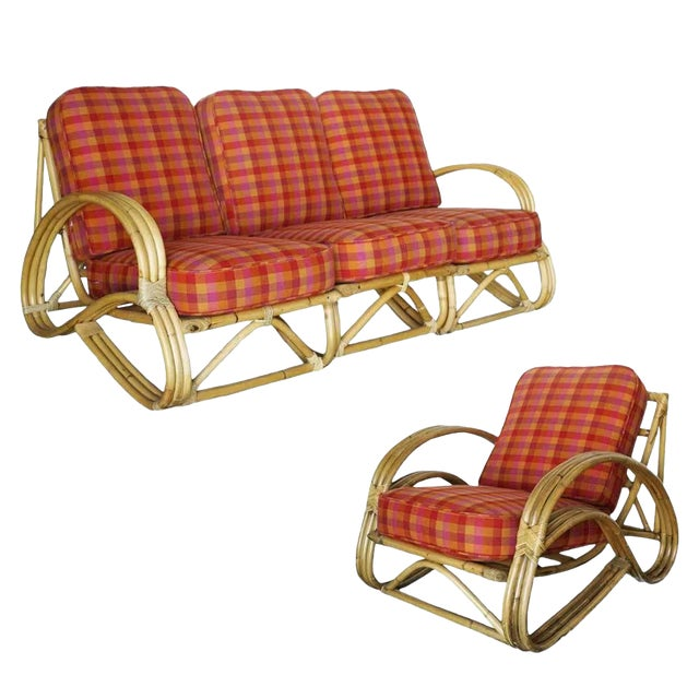 "Restored Three-Strand ""S-Arm"" Rattan Living Room Set For Sale"