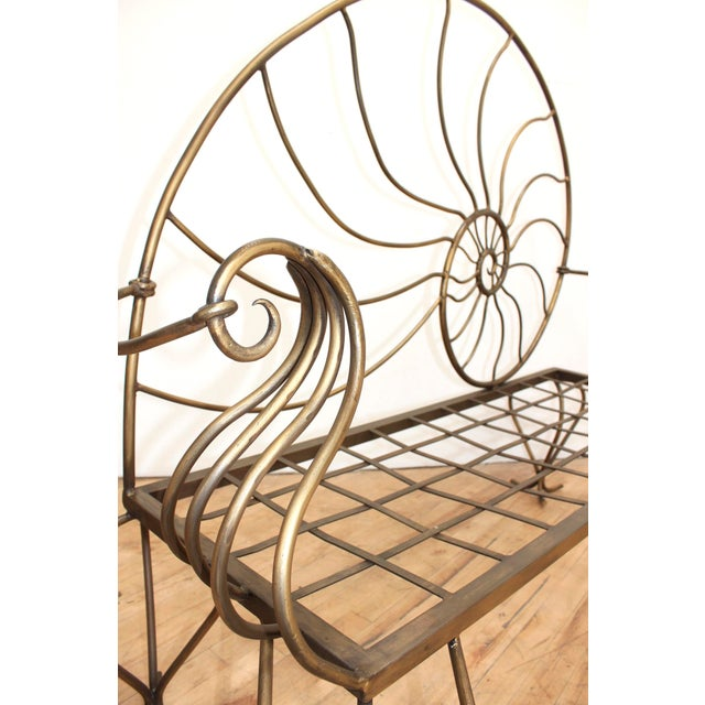 Exquisite hand forged wrought iron nautilus settee with gorgeous exaggerated Louis XV cabriolet legs. Bronze/dark gold...