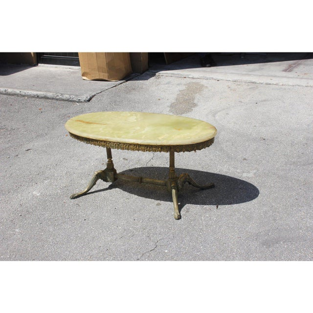 Green 1940s Maison Jansen Art Deco Oval Coffee Table For Sale - Image 8 of 13