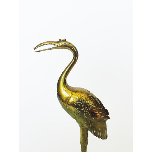 Vintage Brass Crane on a Tortoise - Image 4 of 5