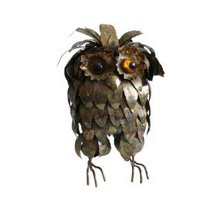 Brutalist Metal Owl Sculpture/ C Jere Owl Figurine For Sale