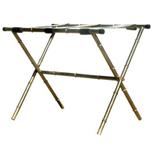 Vintage Faux Bamboo / Rattan Brass Luggage Rack For Sale