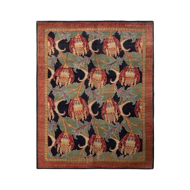Textile Hand-Knotted Vintage Floral Rug Red Green Pomegranate Pattern Rug by Rug & Kilim For Sale - Image 7 of 7