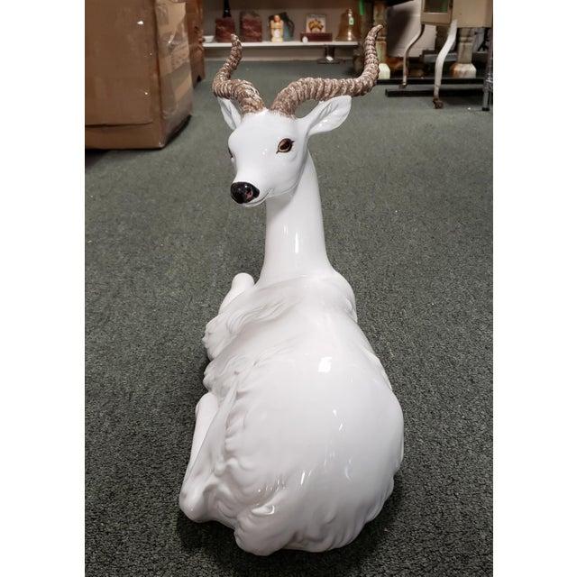 Mid 20th Century Mid 20th Century Italian Ceramic Recumbent Gazelle Sculpture For Sale - Image 5 of 7