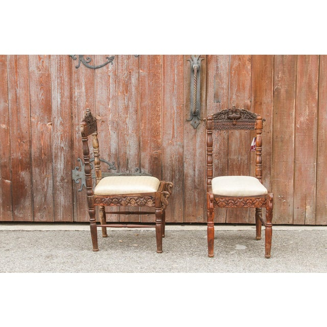 Paired Anglo Indian Peacock Chairs For Sale In Los Angeles - Image 6 of 11