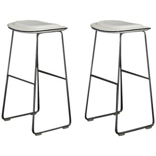 "Pair of Cappellini ""Hi-Pad"" Bar Height Barstools in White Faux Leather For Sale"
