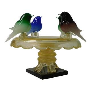 Walter Furlan Murano Art Glass Bird Bath Sculpture For Sale