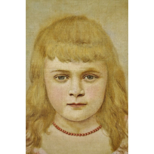 Antique Framed Victorian Style Painting on Canvas of Young Girl - Artist Signed For Sale - Image 4 of 13