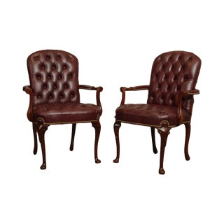 Hancock & Moore Oxblood Tufted Leather Pair Mahogany Armchairs For Sale