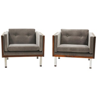 Pair of Lounge Chairs in Rosewood and Gray Velvet by Jydsk Møbelværk For Sale