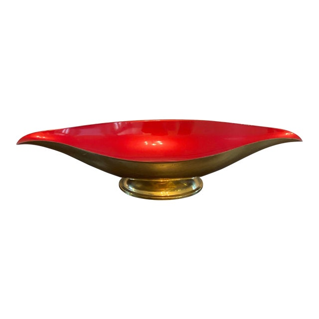 Mid Century Modern Red Brass and Enamel Candy Dish For Sale