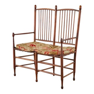 19th Century American Windsor Spindle Back Settee For Sale
